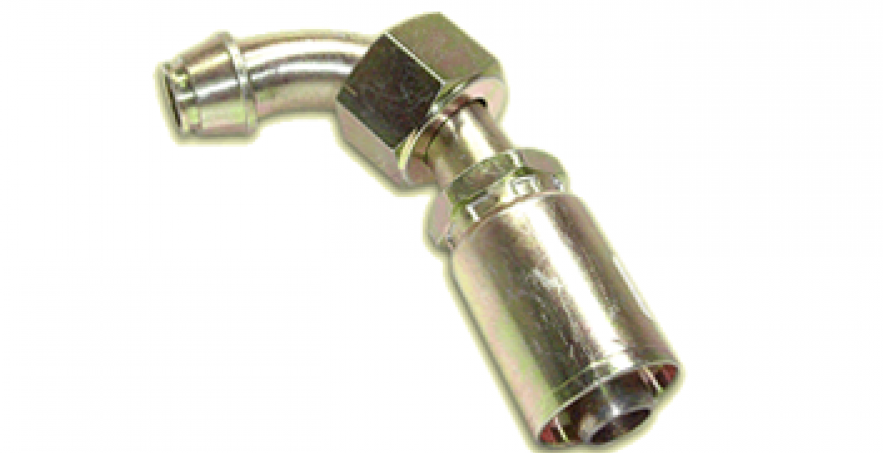 HOSE END FITTING- METRIC FEMALE SWIVEL, 90° TUBE ELBOW
